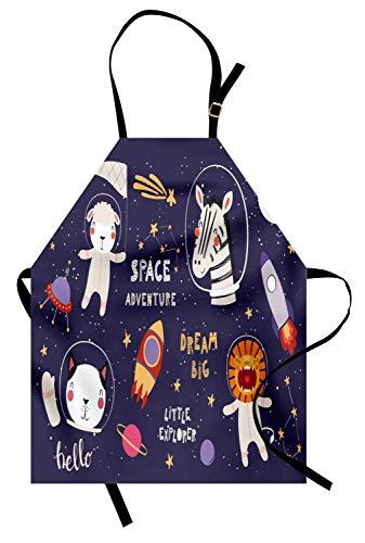 Soefipok Galaxy Schürze, Zebra Löwe Katze Schaf Astronauten Tierfiguren Sterne Weltraumrakete, Unisex-Küchenschürze mit verstellbarem Hals zum Kochen Backen Gartenarbeit, Dark Purple Grey ()