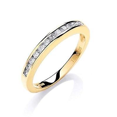 JQS - 18ct Yellow Gold 0.25 Carat Diamond H/Si Half Channel Set Eternity Ring