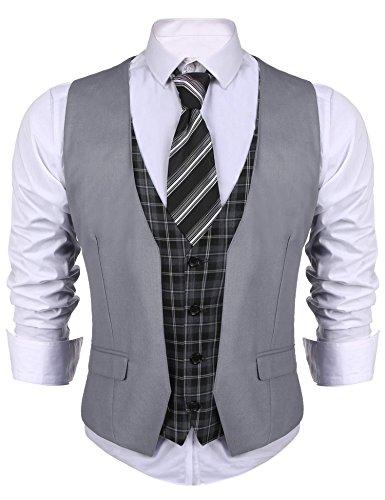 Coofandy Weste Herren Anzug V-Ausschnit Vintage Geschäftsweste Anzugweste Slim fit Anzug Ohne Arm Grau EU 40, L (Weste Kragen Ohne Anzug)