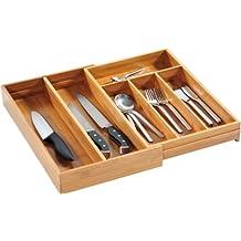 Kesper 17186 - Portaposate regolabile in bambù, larghezza: 26 - 49 cm, profondità: 43 cm, altezza: 6 cm - Divisori Di Fibra Divisori
