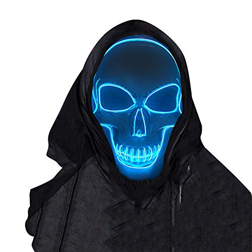 SOUTHSKY LED Mask Schädel Maske Skull Full Face Mask EL Wire Glow 3 Modes for Halloween Costume Cosplay Party (Blau) (Two Face Kostüm)