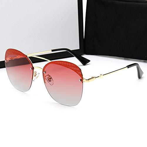 Honneury Mode rahmenlose Bunte polarisierte treibende Sonnenbrille für Frauen/Männer (Farbe : Gold Frame/Gradient red)