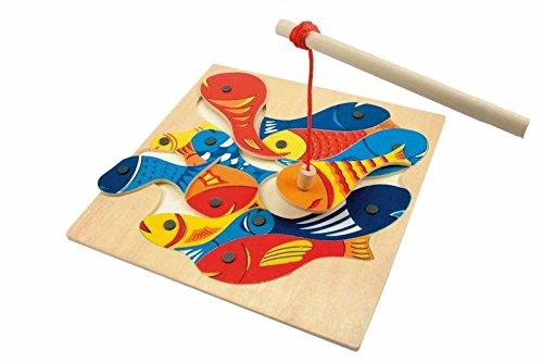 Magnetisches Angelspiel von Woody. Holz Spielbrett 32x32cm. 14 teilig. Safe Toys getestet. Für Kinder ab 3 Jahren geeignet