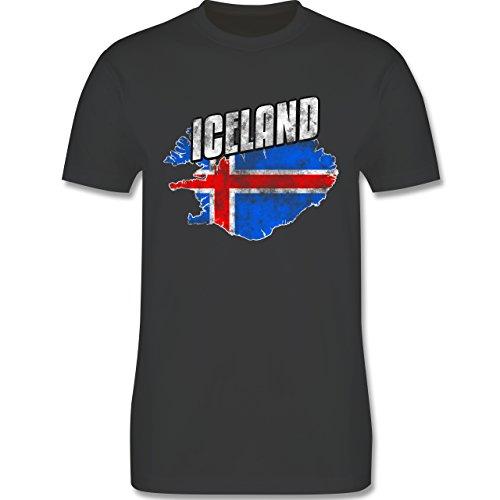 EM 2016 - Frankreich - Iceland Umriss Vintage - Herren Premium T-Shirt Dunkelgrau