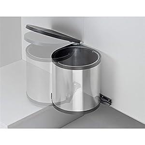 Quellmalz Wesco Einbau Abfallsammler/Bin Deckel hebt schwenkt beim Öffnen/für Spülenunterschränke Schrank Swing Türen und Seitenwände/rund/11Liter Fassungsvermögen 40Meter/Silber