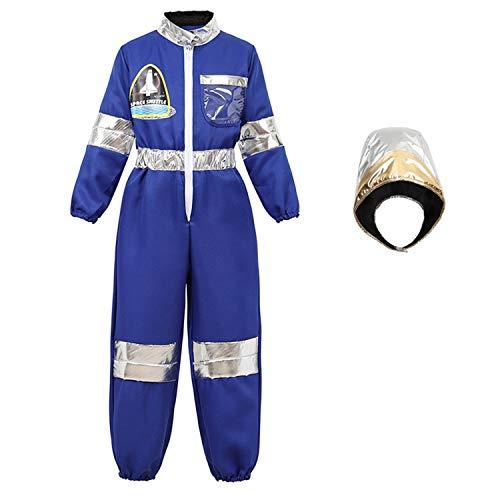 aizen astronaut kostüm kinder helm handschuhe Anzug costume Jungen Weltraum Raumfahrer faschingskostüme Blau XL