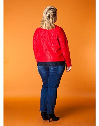 x-two Jacke Übergangsjacke Wildleder-Imitat für mollige Damen in Rot - 3