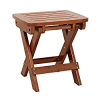 Ganeed Bamboo Folding Stool,Portable Folding Shower Seat,Shaving Shower Foot Rest,Fully Assembled 13.6 Inches Height,Dark Brown Color