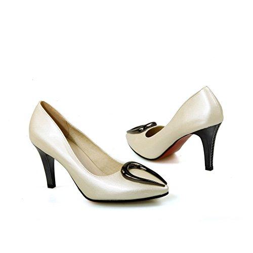 AllhqFashion Damen Spitz Zehe Ziehen Auf Pu Leder Eingelegt Hoher Absatz Pumps Schuhe Cremefarben