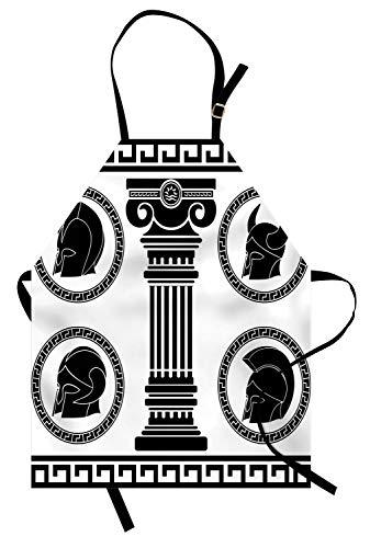 ABAKUHAUS Toga-Party Kochschürze, Gemusterte Circular Frames mit antiken Accessoires Spartan Classic Kostüm, Farbfest Höhenverstellbar Waschbar Klarer Digitaldruck, Weiß und Schwarz (Billig Toga Kostüme)