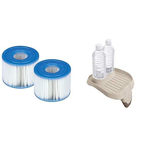 Intex Whirlpoolzubehör Kunststoff-Getränkehalter für Pure SPA, beige, 26 x 22 x 18 cm & Filterkartusche für PureSpa Whirlpools, Typ S1 (Doppelpack), Ø 4,3 cm (innen) Ø 10,8cm (außen), 7,5 cm (Höhe)