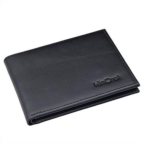 WinCret Slim Wallet mit Sichtbar Münzfach und RFID-Schutz - Flache Praktische Mini Geldbeutel Geldbörse Leder für Männer und Damen -