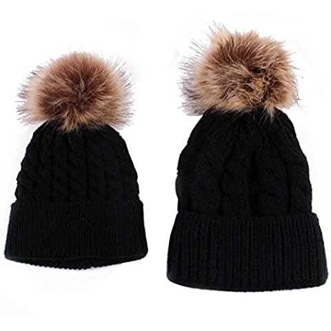 Parent-child Hat Warmer Ski Cap Set, VENMO Kids Baby Unisex Cute Winter Knitted Warm Beanie Hats with Faux Fur Pom Pom Bobble (Black)
