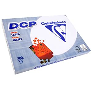 CLAIREFONTAINE Lot de 5 Ramettes 125 Feuilles Papier DCP 300g A3 420x297 mm Certifié FSC Blanc