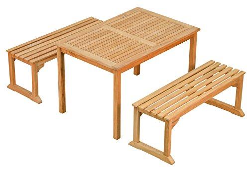 Sitzgruppe 3 Tlg. aus massivem Teakholz  2x Bank + 1x Tisch  Wetterfest  Nachhaltiges Plantagenholz  Klassisch geformte Balkon-Gruppe, Sitzgruppe aus Holz