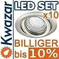 10er Set K-19 Einbaustrahler 1w 20p Led Warmweiss Inkl Gu10 230v Fassung - Nickel Matt Innox von Kwazar