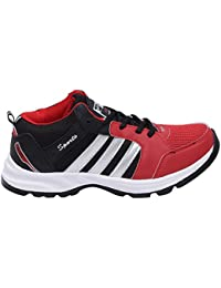 CF_Better Deals Mens Synthetic Mesh Black Red Coloured Sports Shoe| Running Shoes| Pro Running Shoes| Sprint Running... - B076CN6SSJ