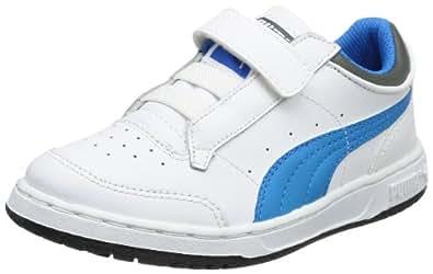 Puma Full court Lo V Kids 353649, Unisex-Kinder Sneaker, Weiß (white-brilliant blue-dark shadow 10), EU 20 (UK 4) (US 5)
