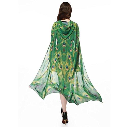 Schmetterling Kostüm, Dasongff Frauen Party Kapuzen Umhang Print Chiffon Schmetterling Flügel Cape Schal Pfau Poncho Schal Wrap Karneval Fasching Kostüm Cape mit Kapuze (140*100CM, Gelb) (Pfau Kostüm Kleid)