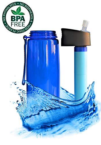 Botella de filtro de agua personal: filtro 99,99% de bacterias, sin BPA, filtro portátil de 2 etapas para senderismo, camping, supervivencia y uso diario