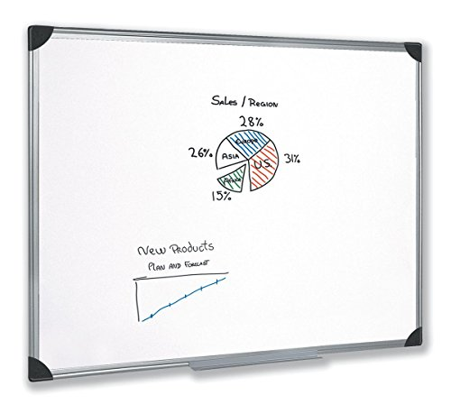5 Star Easy Office Supplies (W1200mm x H900mm) Whiteboard Drywipe Magnetic with Pen Tray and Aluminium Trim