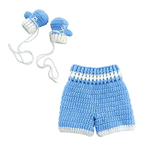Xurgm Boxen 0-3month Baby Häkeln Fotografie Requisiten Schießen Neugeborenen Foto Cool Boy Kostüme Säuglingshosen Kleidung Set (BL)