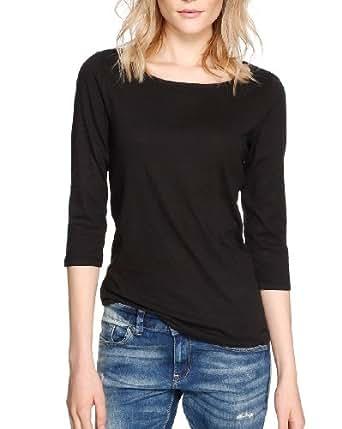 S.Oliver - T-Shirt À Manches Longues - Col Ras Du Cou - Manches 3/4 Femme - Noir - Noir - FR : 46 (Taille Fabricant : 44) (Brand size : 44)