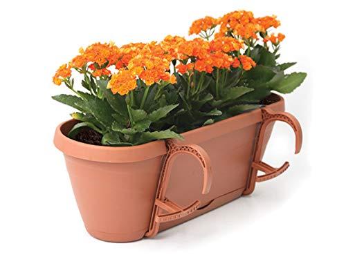 UPP Pot de Fleurs Universel pour clôtures et rampes jusqu'à 6 cm d'épaisseur Protection Contre Les surcharges et l'irrigation grâce à la Terre Auto-régulière 50 x 17 x 16 cm Terrakotta 4er Set