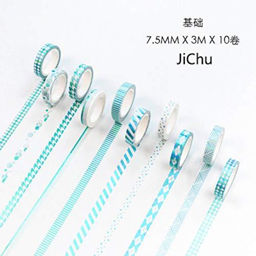beband 10 Teile/Satz Bronzing Split Line Washi Klebeband Einfache Nette Dekoration Kreppband Scrapbooking Diy Studie Schreibwaren,Ji Chu ()