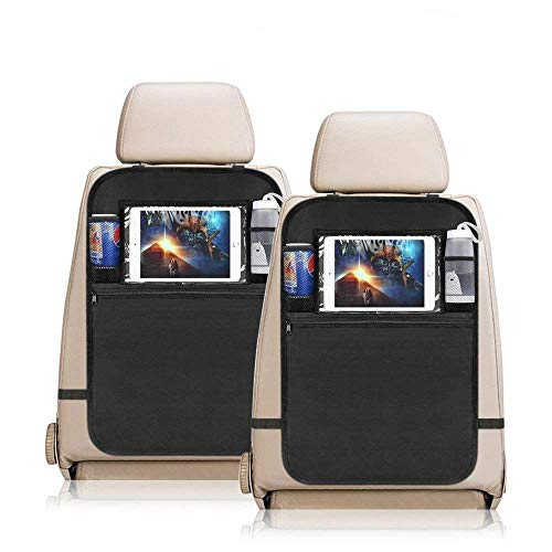porta tablet da auto YZCX 2 Pezzi Protezione Sedili Auto Bambini Proteggi Sedile Organizzatore Sedile Posteriore Impermeabile con supporto trasparente per iPad tablet per Car SUV Minivan Camion Seats