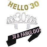 Amycute 30 anni compleanno Crown Tiara di Cristallo, 30 anni fascia compleanno per regalo festa 30 anni, la decorazione dei