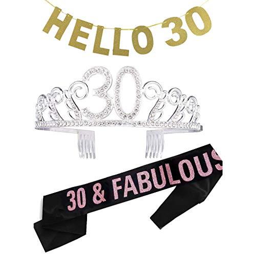 Amycute 30. Geburtstagsfeier Haarschmuck mit Schärpe Kristall Geburtstag Tiara Birthday Crown Prinzessin Geburtstag Krone Haar-Zusätze Silber für 30. Geburtstag, lustiges Geschenk,Party Deko. (Krone Prinzessin Geburtstag)