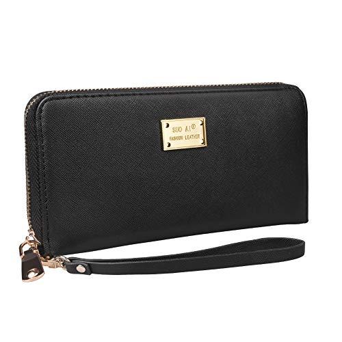 amen Leder Portemonnaie Viele Fächer Groß Geldbeutel Gross Portmonee RFID Schutz Geldtasche Viele Kartenfächer Lang Damengeldbörse mit Reißverschluss Brieftasche Frauen Schwarz ()