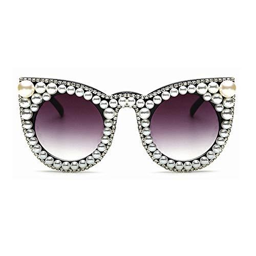 KJWELUQ Frauen Sonnenbrille Perle mit Strass Katzenaugen Damen Shade Big Size Sonnenbrille Damen