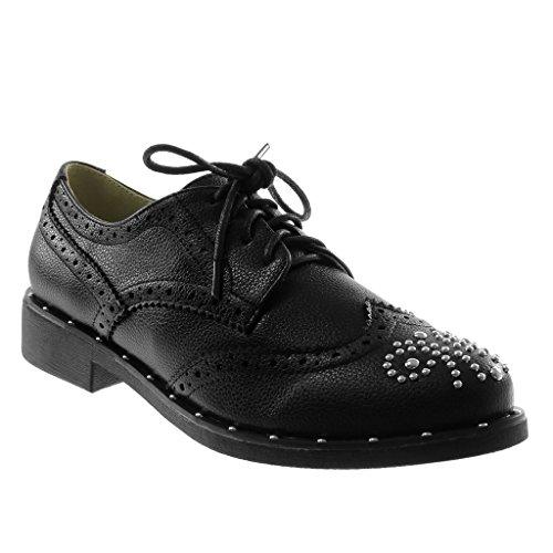 Angkorly Shoes Fashion Derby Shoe Mujer Tachonado Perforado Brillante Block Heel 3 Cm Negro