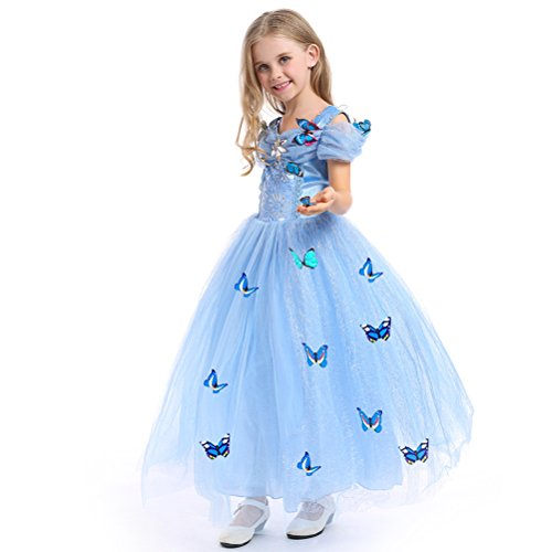 faschingskostuem eiskoenigin elsa URAQT Mädchen Prinzessin Kleid Verrücktes Kleid Partei Kostüm Outfit