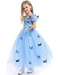 URAQT Princesa Traje del Vestido, Traje de Princesa Azul con Mariposas Vestido Infantil Disfraz de Princesa de Niñas para Fiesta Carnaval Cumpleaños Cosplay Halloween