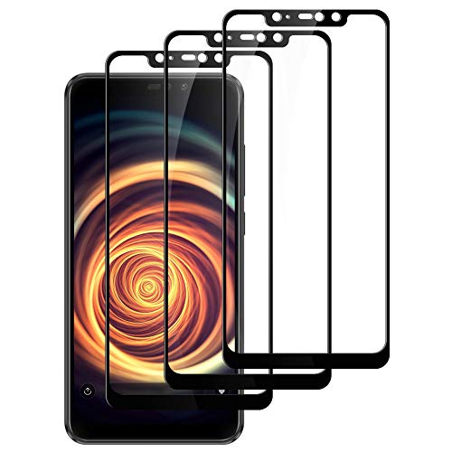 Lomio Vetro Temperato per Xiaomi Redmi Note 6 PRO, [3 Pezzi] Durezza 9H - Alta Definizione - No-Bubble - Anti-Graffi -Copertina 2.5D Completa [Nero]