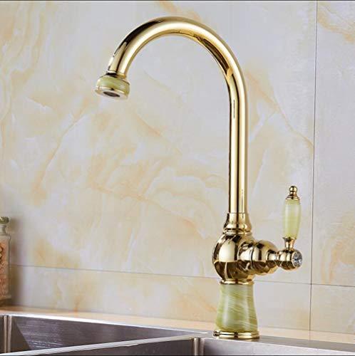 Küchenarmaturen Messing mit Jade Kitchen Kran Einhand-Gold Finish 360 Schwenker-Mixer Küchen-Hahn-Wannen-Mischer Küchenarmaturen Granit, B (Copper Granit-spüle)