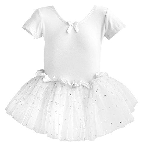 Dancina Mädchen Kurzarm Ballettkleid Ballettanzug mit Tutu 116/122 Weiß (Billige Tutus)