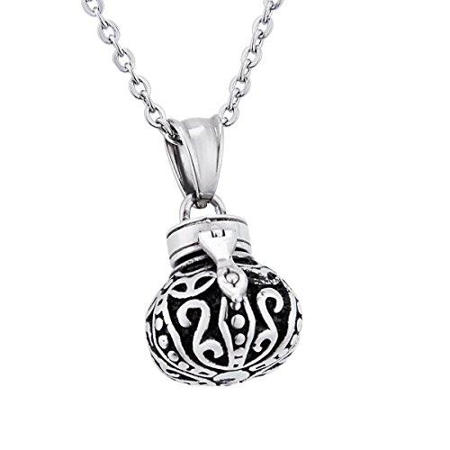 Box Anhänger Memorial Andenken Edelstahl Halskette Medaillon Anhänger Halskette Memorial Jewelry (Kürbis-gebet)
