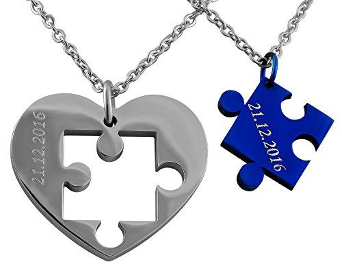 Hanessa Gravierte Puzzle Herz Kette mit Wunsch Gravur Silber Blau Partner-ketten aus Edelstahl in silber Puzzle-Teil Anhänger Schmuck für Paare