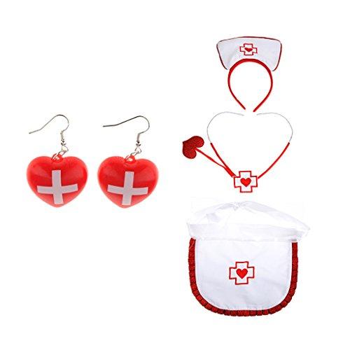 Sharplace Halloween Kostüm Krankenschwester Set für Erwachsene inkl. Haarband Schürze Stethoskop Ohrhänger
