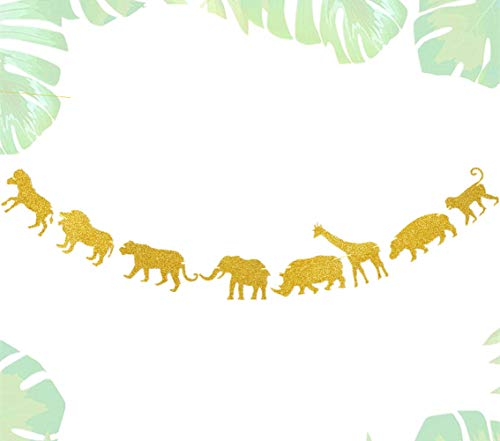 JeVenis Glitter Wild One Banner Dschungelsafari Thema Banner Safari Geburtstagsdekoration Safari Party Zeichen Wild Things Geburtstagsdekoration Safari Geburtstagsfeier Zeichen