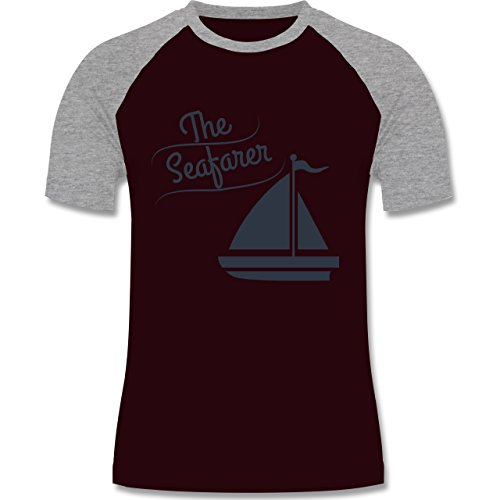 Schiffe - The Seafarer Segelboot - zweifarbiges Baseballshirt für Männer Burgundrot/Grau meliert