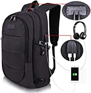 College Laptop Backpack Water Resistant Anti-Theft Bag with USB Charging Port and Lock 14/15.6 Inch Computer B