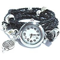 Wickeluhr, Armbanduhr mit Wickelarmband aus geflochtenem Leder - Spiralen