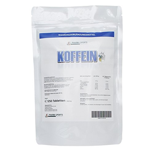 Koffein Tabletten (200 mg Koffein 1,3,7-Trimethylxanthine) - hochdosiert - Made in Germany - 250 Tabletten