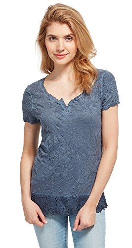 Tom Tailor für Frauen T-Shirt T-Shirt mit permanenten Crinkles real navy blue