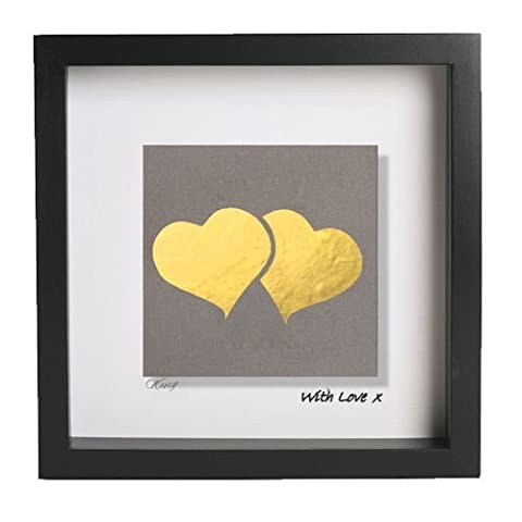 Hand Gilded Gold Leaf Two Hearts Picture in Deep Black